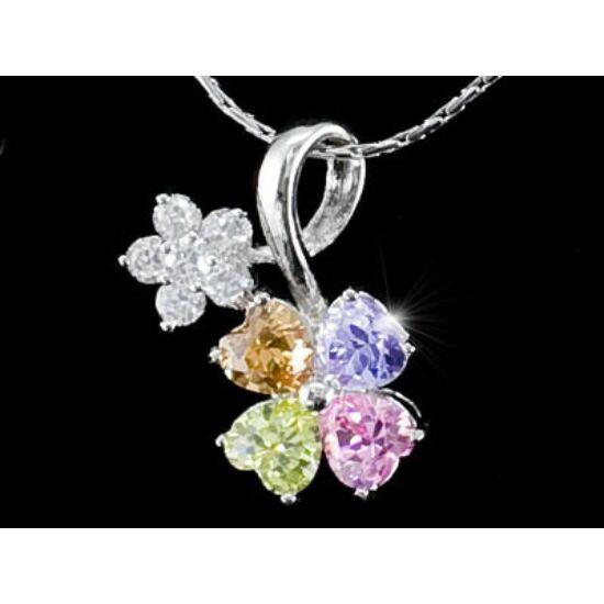 Színpompás virágos Swarovski kristályos nyaklánc