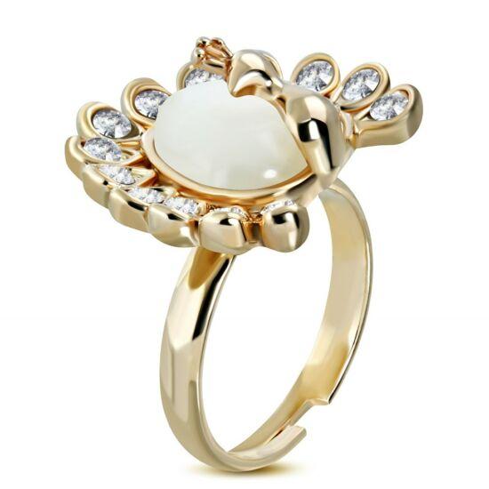 Szív alakú, állítható nemesacél gyűrű ékszer, cirkónia kristállyal