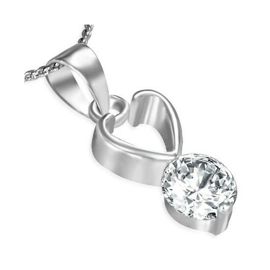 Szív alakú, cirkónia kristályos divat nyaklánc