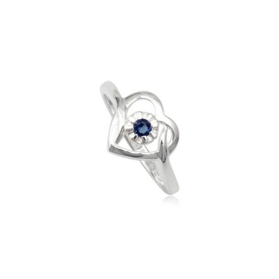 Szív alakú ezüst gyűrű kék cirkónia kristállyal-6