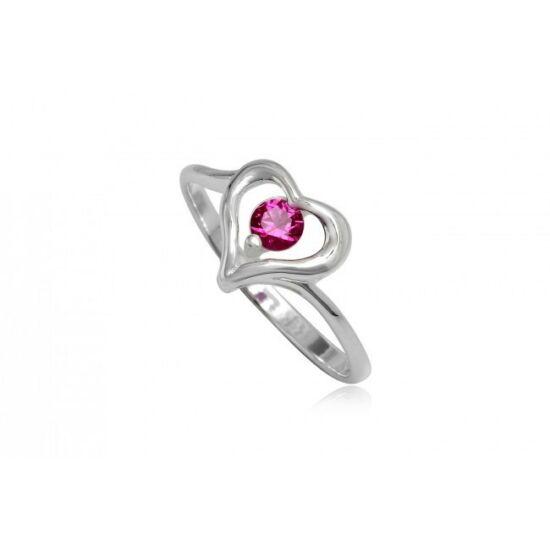 Szív alakú ezüst gyűrű pink cirkónia kristállyal-6