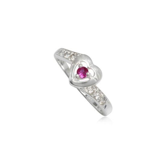 Szív alakú ezüst gyűrű pink cirkónia kristállyal-7