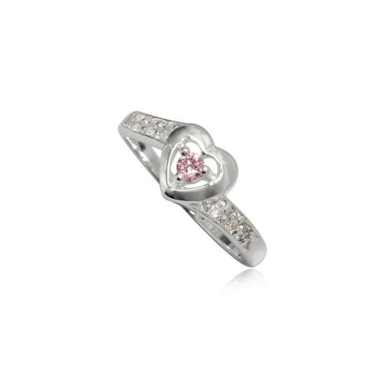 Szív alakú ezüst gyűrű rózsaszín cirkónia kristállyal-6