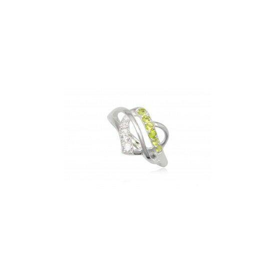 Szív alakú ezüst gyűrű sötét zöld cirkónia kristállyal-6