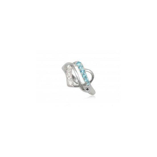Szív alakú ezüst gyűrű világoskék cirkónia kristállyal-6