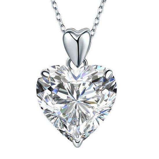 Szív alakú gyémánt nyaklánc - 925 ezüst ékszer
