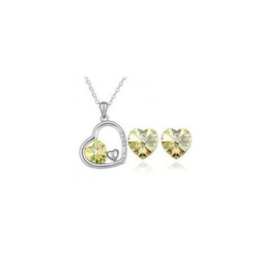 Szív alakú kristállyal díszített szett - Sárga