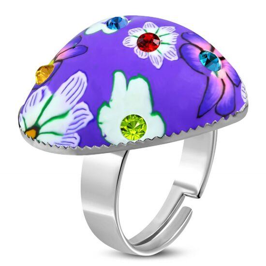 Szív alakú, lila virág mintás állítható nemesacél gyűrű ékszer cirkónia kristállyal