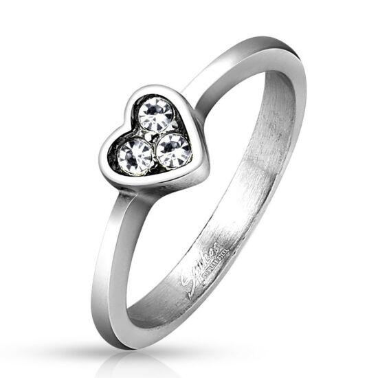 Szív alakú nemesacél gyűrű-5