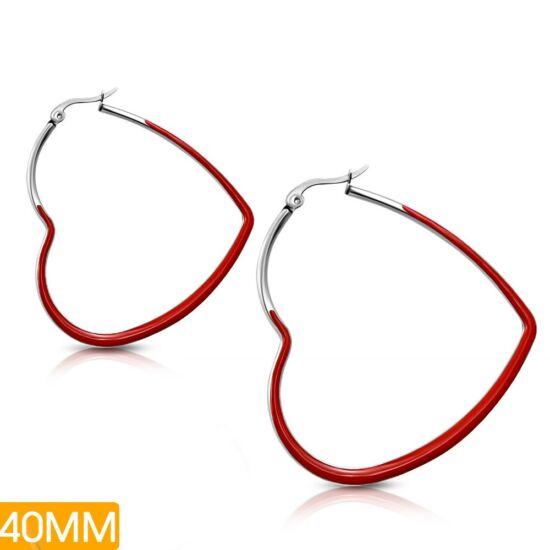 Szív alakú, piros színnel díszített nemesacél fülbevaló ékszer