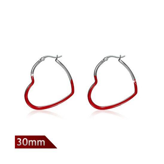 Szív alakú, piros színnel díszített Steeel nemesacél fülbevaló ékszer