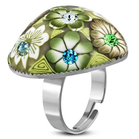Szív alakú, zöld virág mintás állítható nemesacél gyűrű ékszer cirkónia kristállyal
