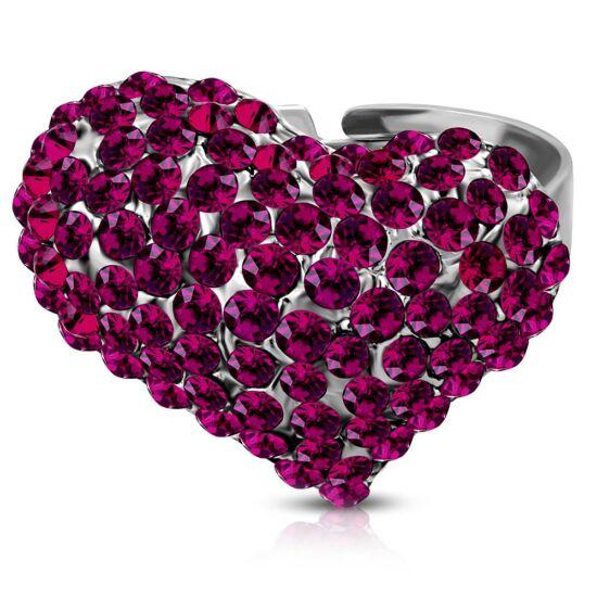 Szív formájú állítható nemesacél gyűrű ékszer cirkónia kristállyal