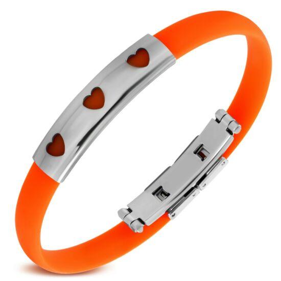 Szívecske mintás gravírozható kaucsuk karkötő ékszer narancssárga