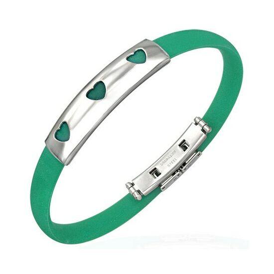 Szivecskés kaucsuk karkötő ékszer zöld