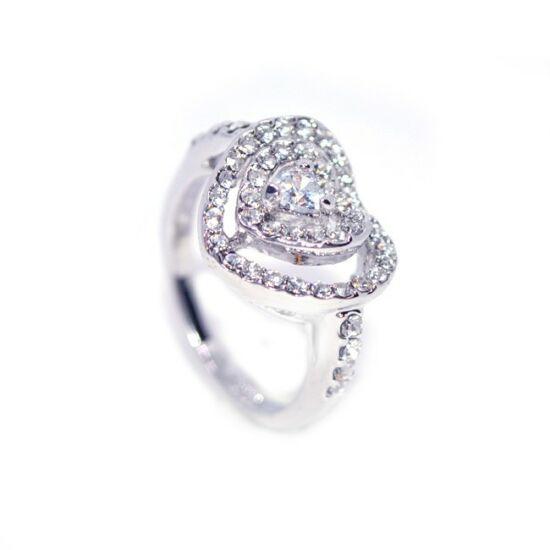 Szíves Swarovski kristályos gyűrű-6