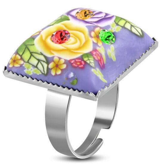 Szögletes, lila virág mintás állítható nemesacél gyűrű ékszer cirkónia kristállyal