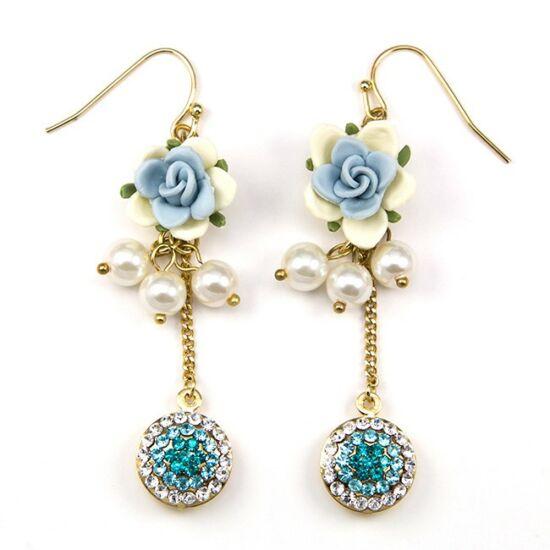 Tara Swarovski kristályos fülbevaló - Kék