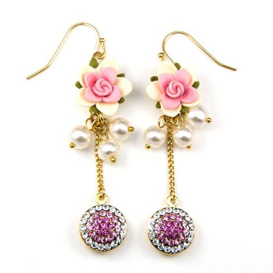 Tara Swarovski kristályos fülbevaló - Pink