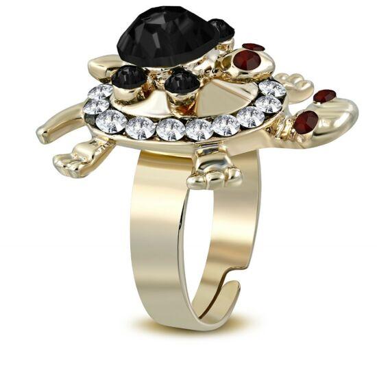 Teknős formájú, állítható nemesacél gyűrű ékszer, cirkónia kristállyal