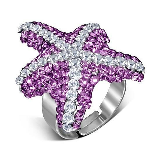 Tengeri csillag formájú, állítható nemesacél gyűrű ékszer, cirkónia kristállyal