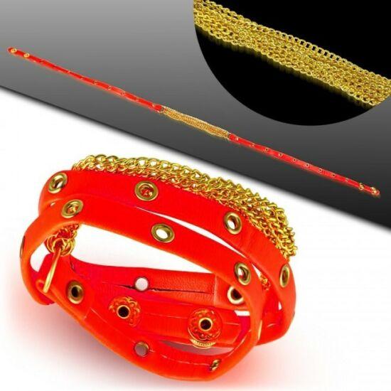 Több részes bizsu bőr karkötő - Piros