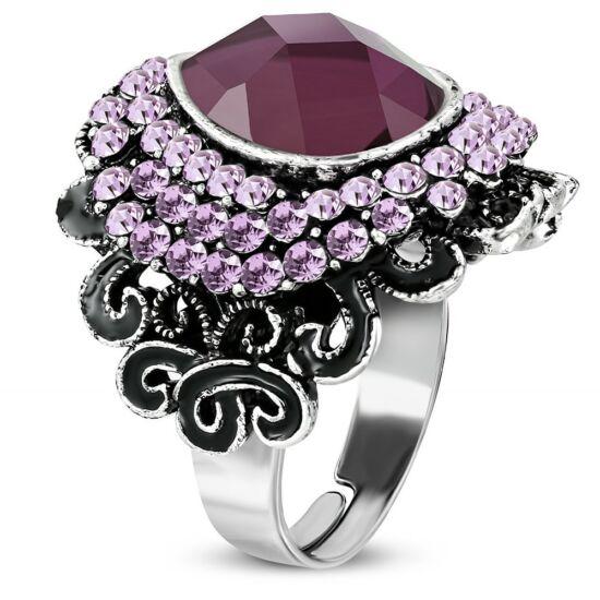 Virág formájú, állítható gyűrű ékszer, pink cirkónia kristállyal