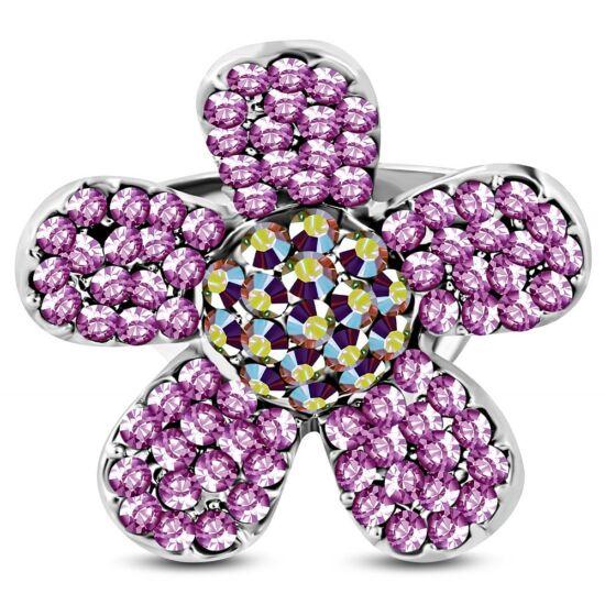 Virág formájú, állítható gyűrű ékszer, pink színű cirkónia kristállyal