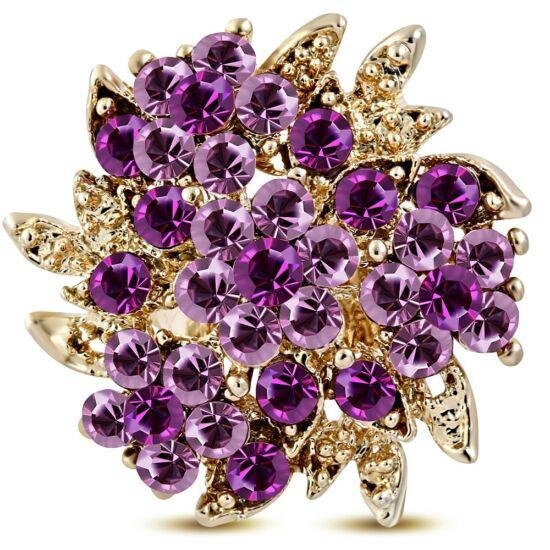 Virág formájú, állítható nemesacél gyűrű ékszer, cirkónia kristállyal