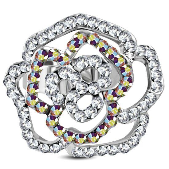 Virág formájú, állítható nemesacél gyűrű ékszer, fehér cirkónia kristállyal