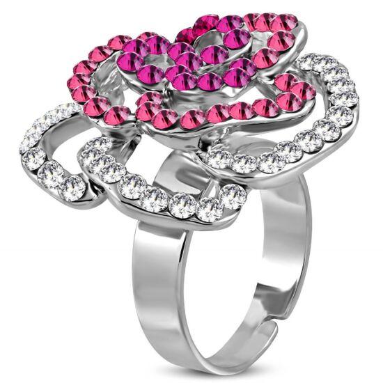 Virág formájú, állítható nemesacél gyűrű ékszer, rózsa szín és fehér cirkónia kristállyal