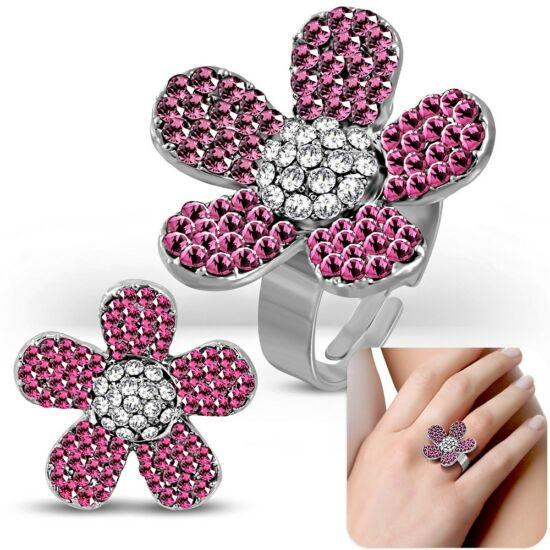 Virág formájú, állítható nemesacél gyűrű ékszer, rózsa színű cirkónia kristállyal