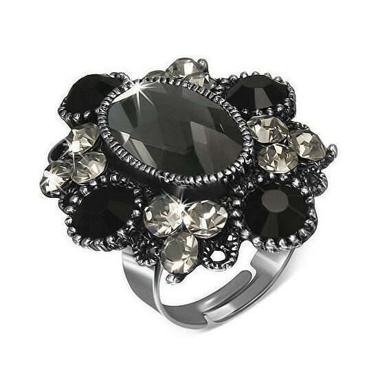 Virág formájú, ovális, állítható nemesacél gyűrű ékszer, fekete cirkónia kristállyal