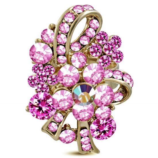 Virág mintájú, ovális, állítható nemesacél gyűrű ékszer, rózsa szín cirkónia kristállyal