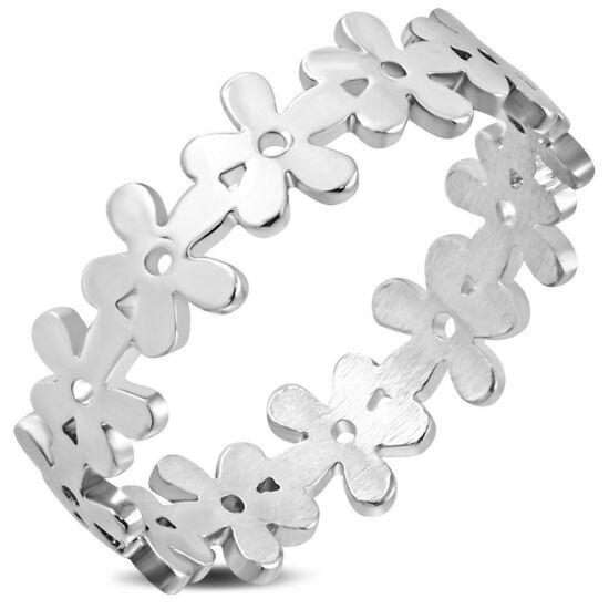 Virágkoszorú formájú nemesacél gyűrű-5