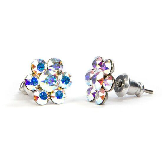 Virágos SWAROVSKI® kristályos nemesacél fülbevaló - Crystal AB