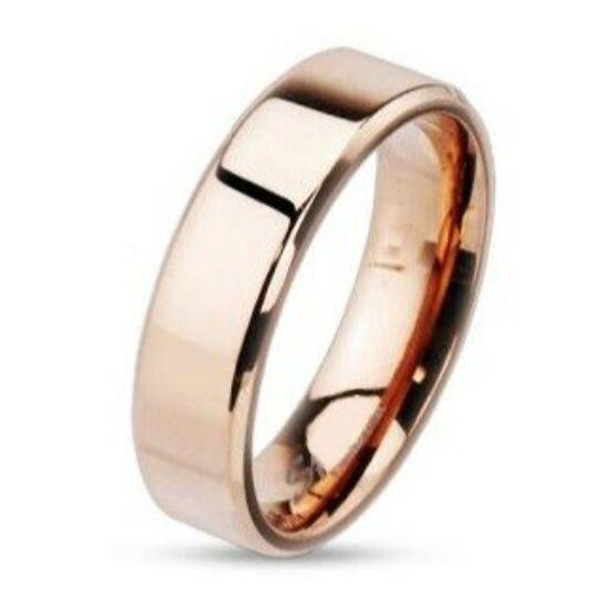 Vörös arany színű, lapos szélű nemesacél gyűrű