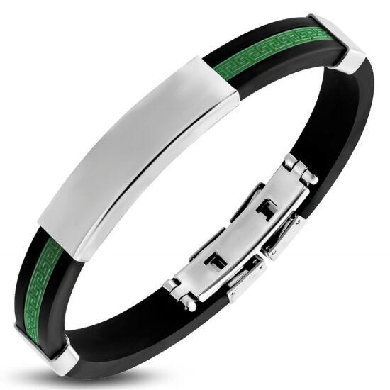Zöld és fekete színű, gravírozható kaucsuk karkötő ékszer