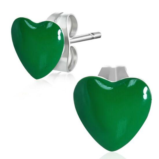 Zöld színű szív alakú nemesacél fülbevaló ékszer
