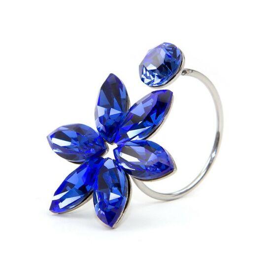 Zuriel SWAROVSKI® kristályos nemesacél gyűrű - Bermuda Blue