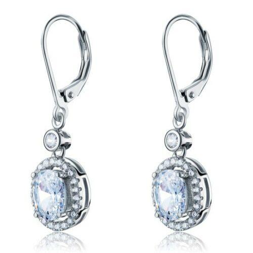 Image of 1.5 karátos ezüst fülbevaló ovális alkú szintetikus gyémánt kristállyal - 925 ezüst ékszer