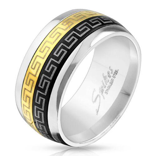 Image of 10 mm - Fekete és arany színű nemesacél gyűrű görög mintázattal-11