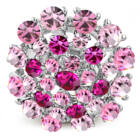 Kerek, állítható nemesacél gyűrű ékszer, rózsa szín cirkónia kristállyal