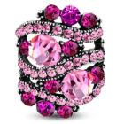 Ovális, állítható nemesacél gyűrű ékszer, rózsa szín cirkónia kristállyal
