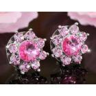 Minco Swarovski kristályos fülbevaló -Pink Rózsa