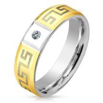 6 mm - Cirkónia kristályos, görög mintás nemesacél karikagyűrű-7