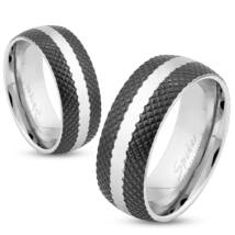 6 mm - Fekete és ezüst színű nemesacél gyűrű ékszer