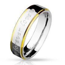 6 mm - Forever love - feliratos nemesacél karikagyűrű-6