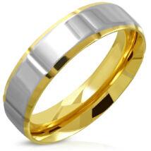 Amenadiel - Arany és ezüst színű tükörfényes nemesacél gyűrű ékszer-10