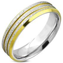 Arany és ezüst színű, homokfújt, barázdált nemesacél gyűrű ékszer